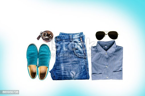 istock Men's clothing set and blue classical jeans 885956708