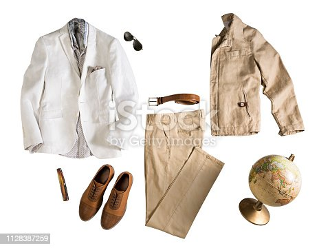 Men's clothing with personal accesorries isolated on white background (with clipping path)