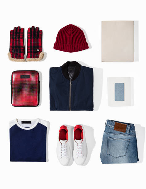 Men's clothing with personal accesorries isolated on white background Men's clothing with personal accesorries isolated on white background (with clipping path) coat garment stock pictures, royalty-free photos & images