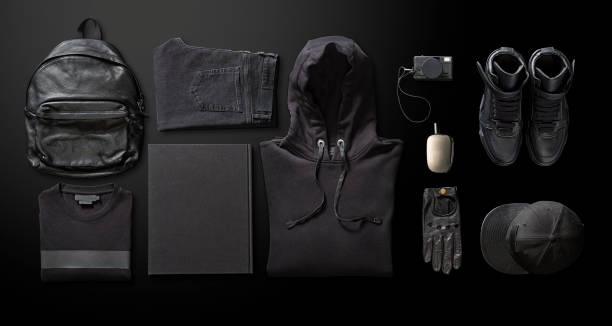 Men's clothing with personal accesorries Men's clothing with personal accesorries on black background menswear stock pictures, royalty-free photos & images