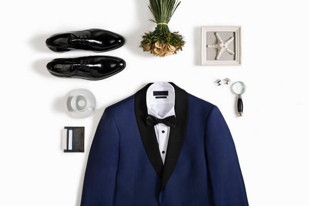 men's clothing with personal accessories isolated on white background - tuxedo stock photos and pictures