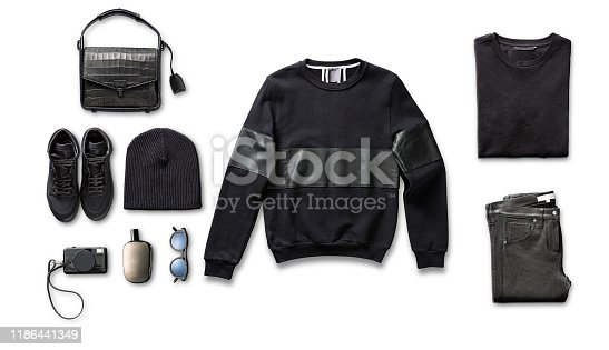 Men's clothing with personal accessories isolated on white background (with clipping path)