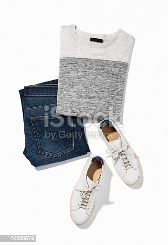 Men's clothing with white sneakers isolated white background (with clipping path)