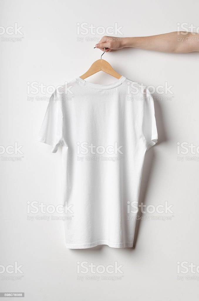 Men's Crew Neck T-Shirt Mock-Up - Backside - foto de stock