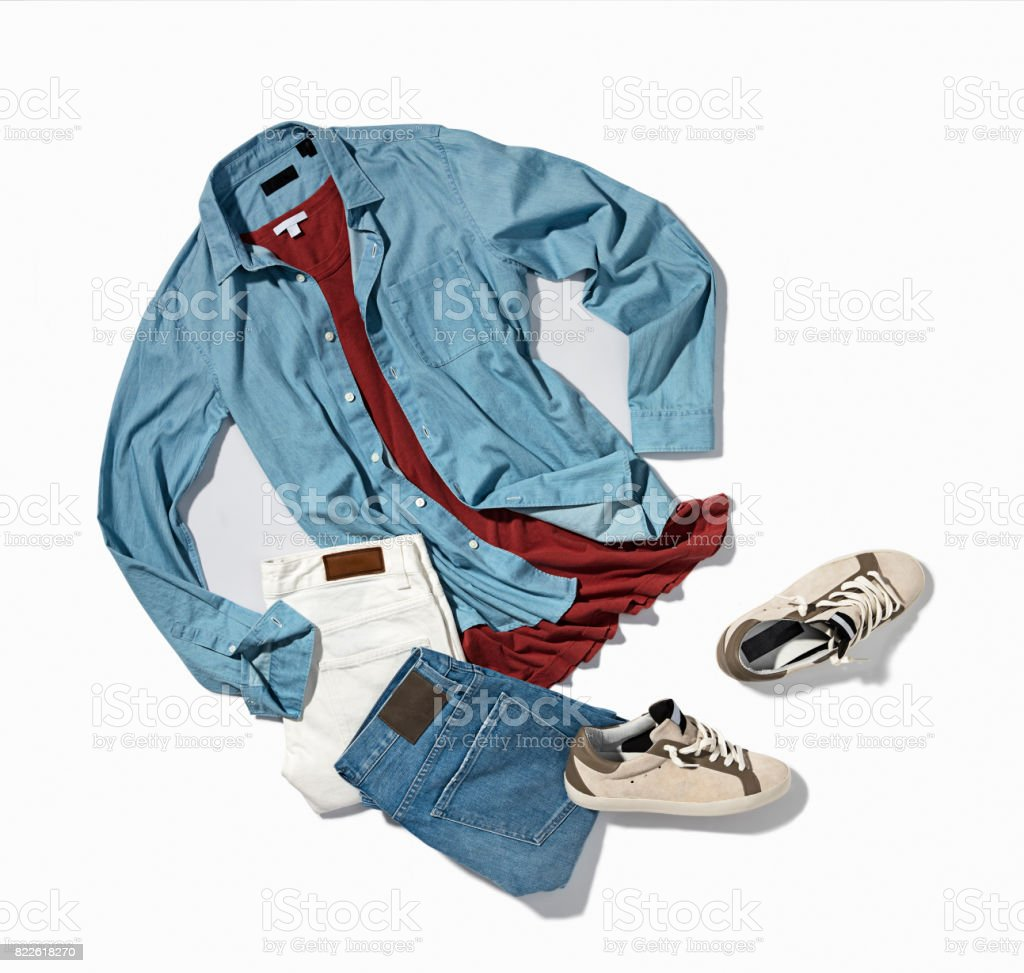 Men's denim shirt, pants with sneakers stock photo