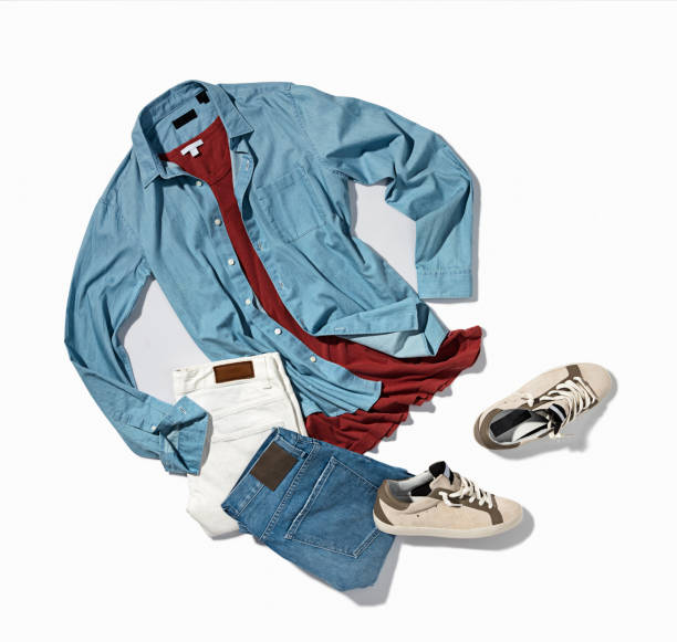 men's denim shirt, pants with sneakers - menswear stock photos and pictures