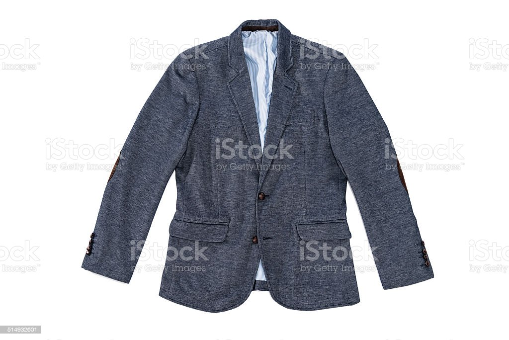 Men's elegance tweed jacket with leather buttons and patches isolated stock photo