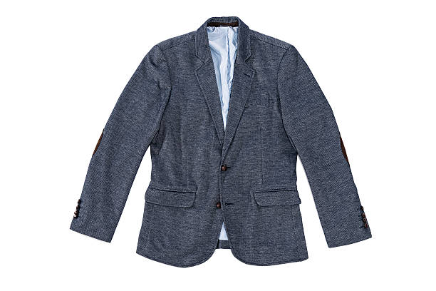Men's elegance tweed jacket with leather buttons and patches isolated Man's elegance fashionable blue tweed jacket with leather buttons and patches on sleeves isolated on white background. blazer jacket stock pictures, royalty-free photos & images