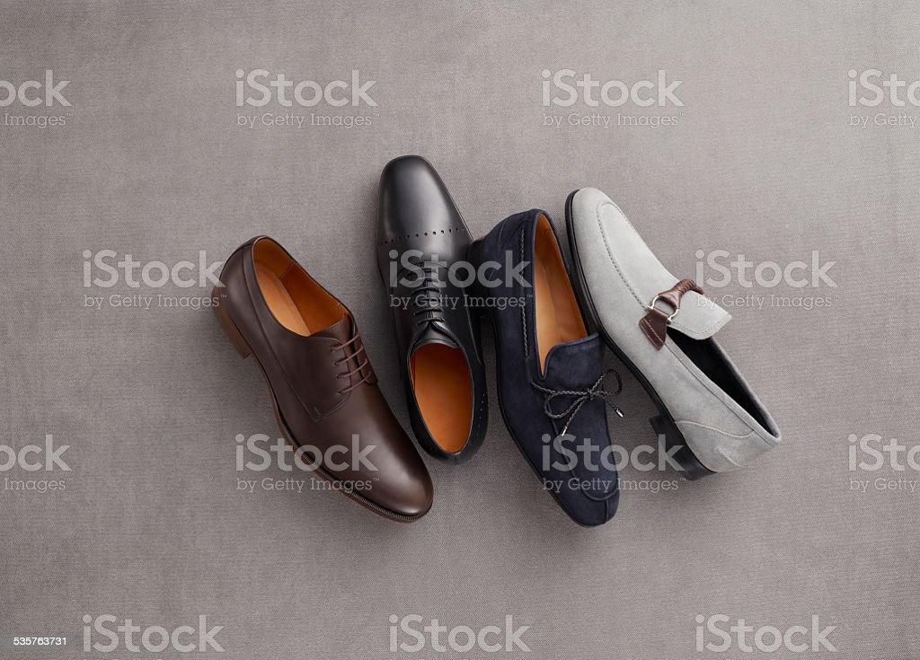 Men's Fashion Grouping of men's dress shoes in formal wear stock photo