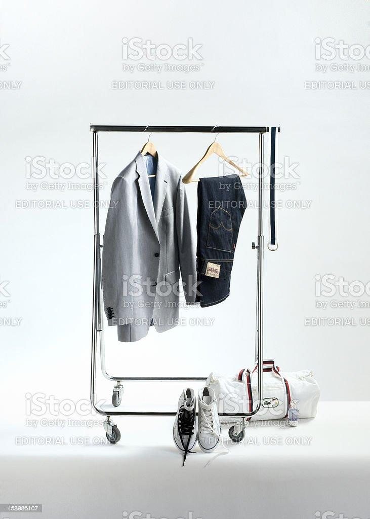 men's fashion on clothes rack stock photo