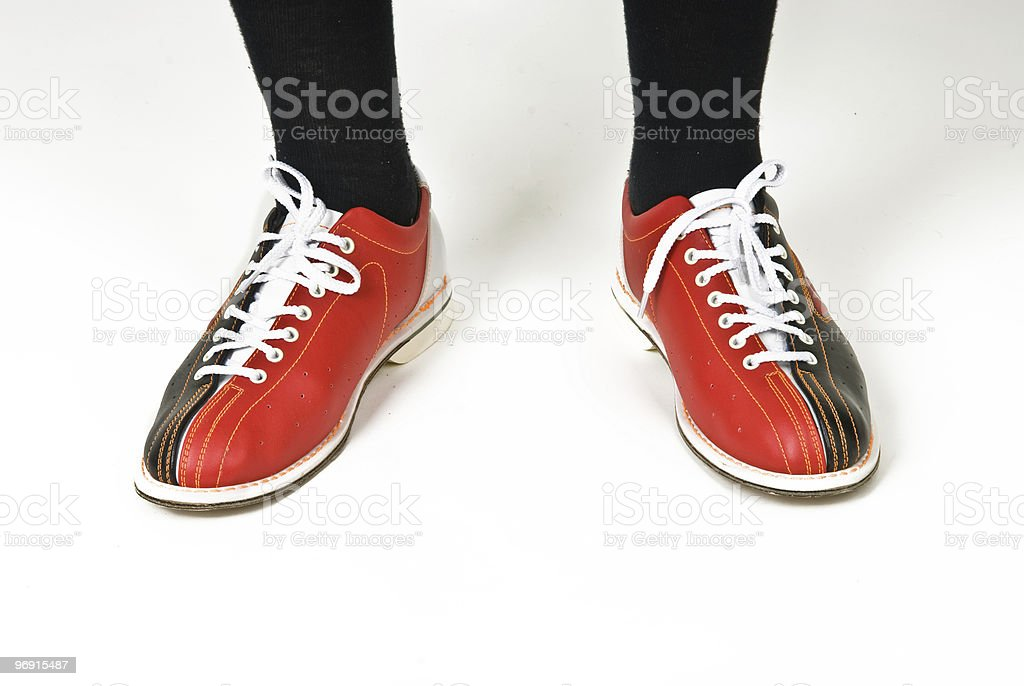 men's feet in shoes for bowling royalty-free stock photo