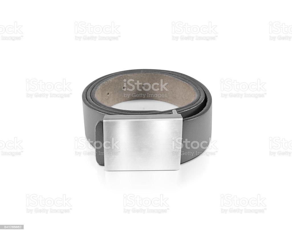 Mens grey belt with blank badge mockup isolated stock photo