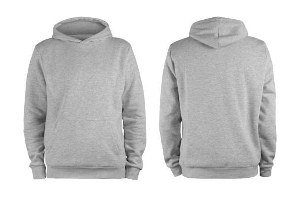 Men's grey blank hoodie template,from two sides, natural shape on invisible mannequin, for your design mockup for print, isolated on white background Men's grey blank hoodie template,from two sides, natural shape on invisible mannequin, for your design mockup for print, isolated on white background hood clothing stock pictures, royalty-free photos & images