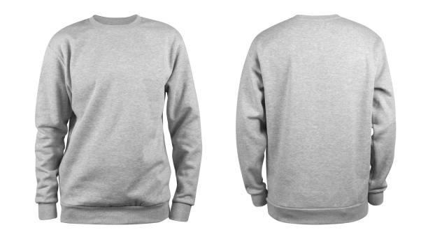 men's grey blank sweatshirt template,from two sides, natural shape on invisible mannequin, for your design mockup for print, isolated on white background. - sweatshirt stock photos and pictures
