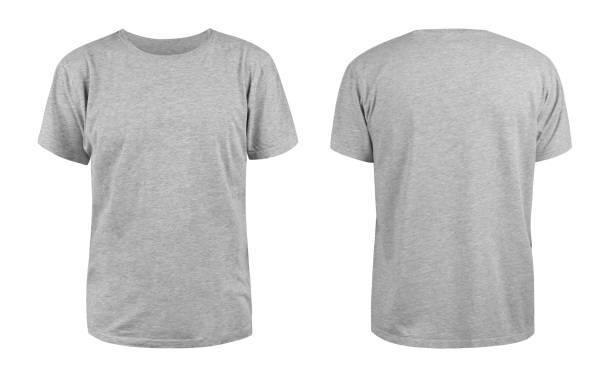 męski szary pusty t-shirt szablon, z dwóch stron, naturalny kształt na niewidzialnym manekinie, dla projektu makiety do druku, izolowane na białym tle - plecy zdjęcia i obrazy z banku zdjęć