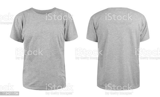 Photo of Men's grey blank T-shirt template,from two sides, natural shape on invisible mannequin, for your design mockup for print, isolated on white background