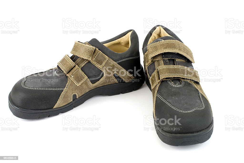 Men's grey leather shoes royalty-free stock photo