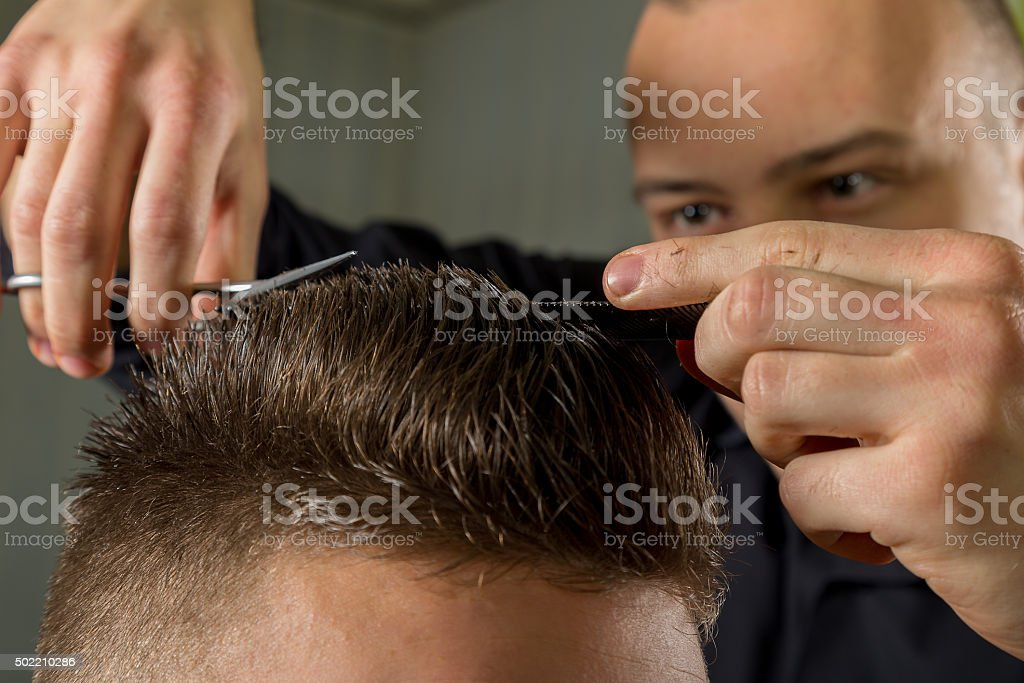 Amazing Mens Hair Cutting With Scissors In A Beauty Salon Stock Photo Natural Hairstyles Runnerswayorg