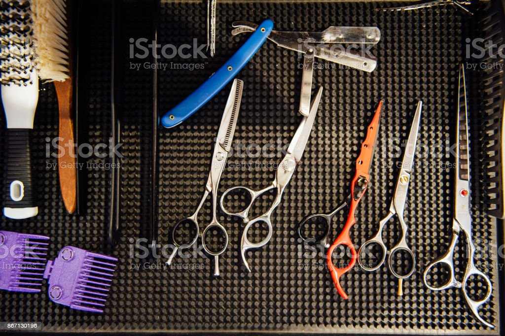 Mens hairdressing desktop with tools for shaving stock photo