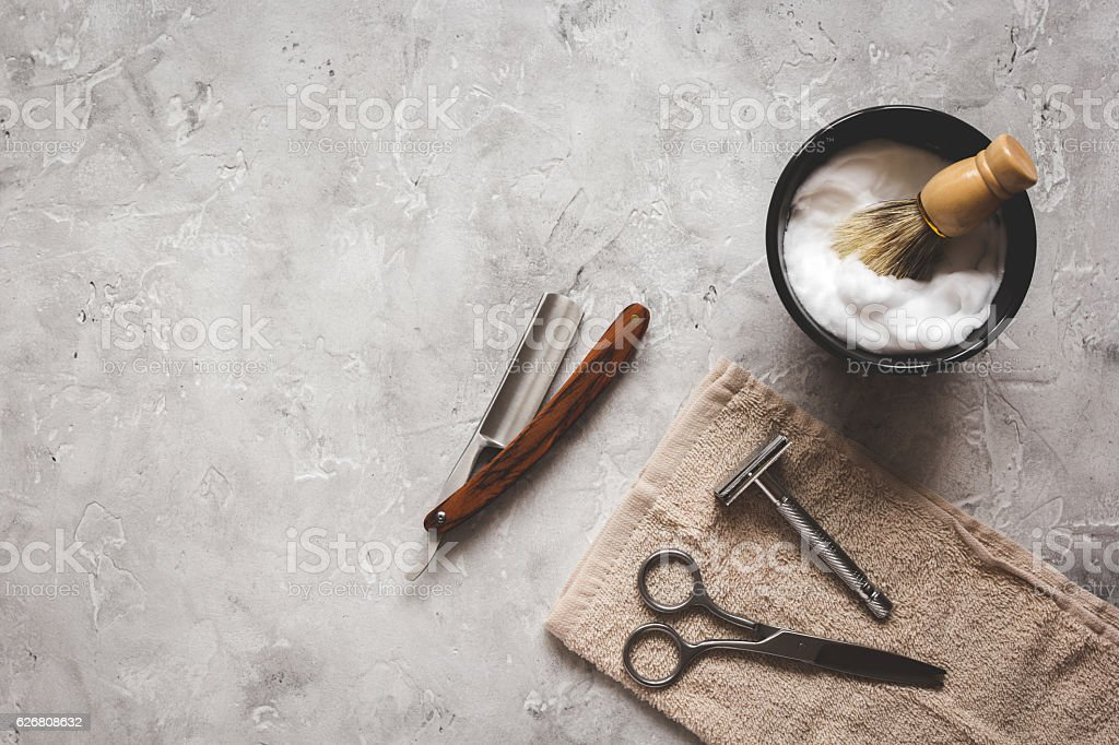 Mens hairdressing desktop with tools for shaving top view - fotografia de stock