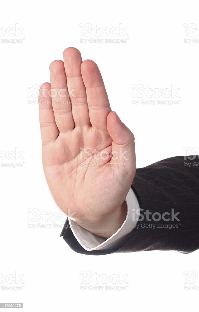 Men's hand signaling stop, isolated on white background stock photo