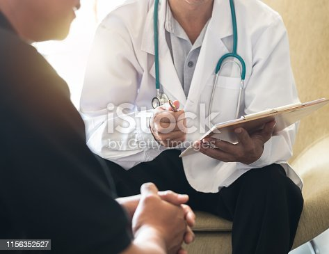 istock Men's health exam with doctor or psychiatrist working with patient having consultation on diagnostic examination on male disease or mental illness in medical clinic or hospital mental health service 1156352527