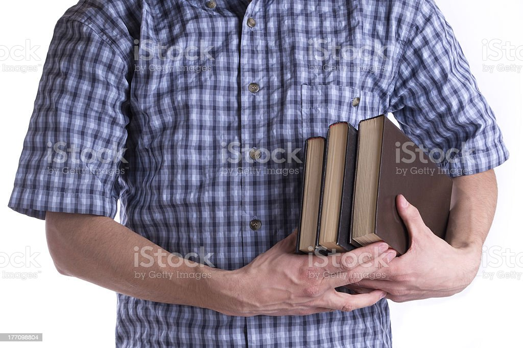 Men's holding a three books royalty-free stock photo
