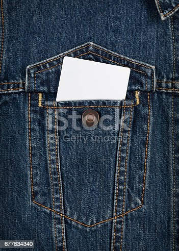 istock Men's jean shirt with blank card 677834340