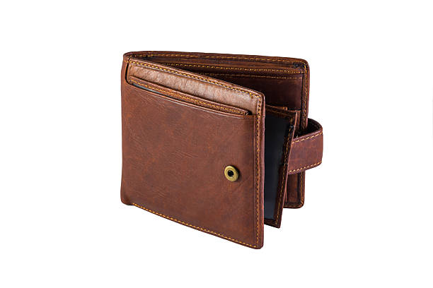 men's leather wallet isolated on white background - wallet stock pictures, royalty-free photos & images