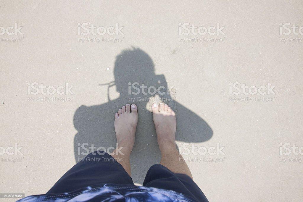 Men's legs picture Taken Own shadow beach stock photo