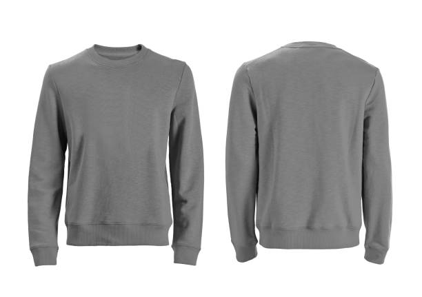 Men's long sleeve t-shirt isolated on white gray long sleeve front and back views with clipping path long sleeved stock pictures, royalty-free photos & images