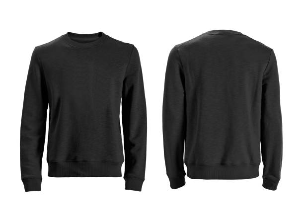 Men's long sleeve t-shirt isolated on white black long sleeve front and back views with clipping path long sleeved stock pictures, royalty-free photos & images