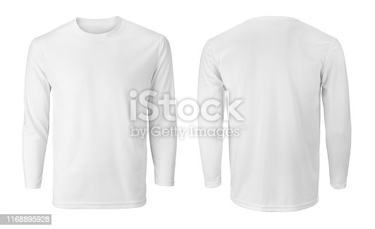Men's long sleeve white t-shirt with front and back views isolated on white