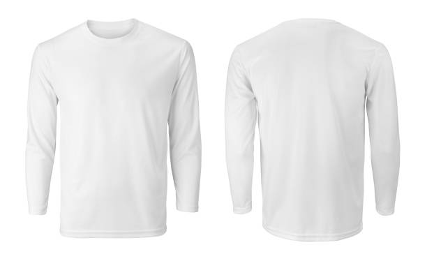 Men's long sleeve white t-shirt with front and back views isolated on white Men's long sleeve white t-shirt with front and back views isolated on white shirt stock pictures, royalty-free photos & images