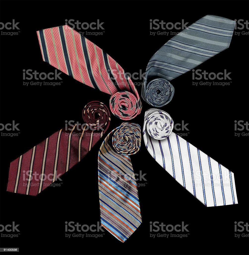 Men's Neckwear - Five Colorful Ties Arranged in a Pattern royalty-free stock photo