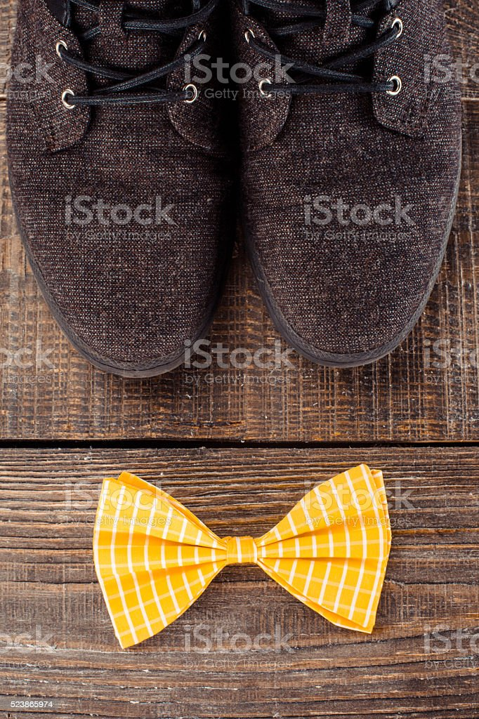 Men's objects on wooden table stock photo
