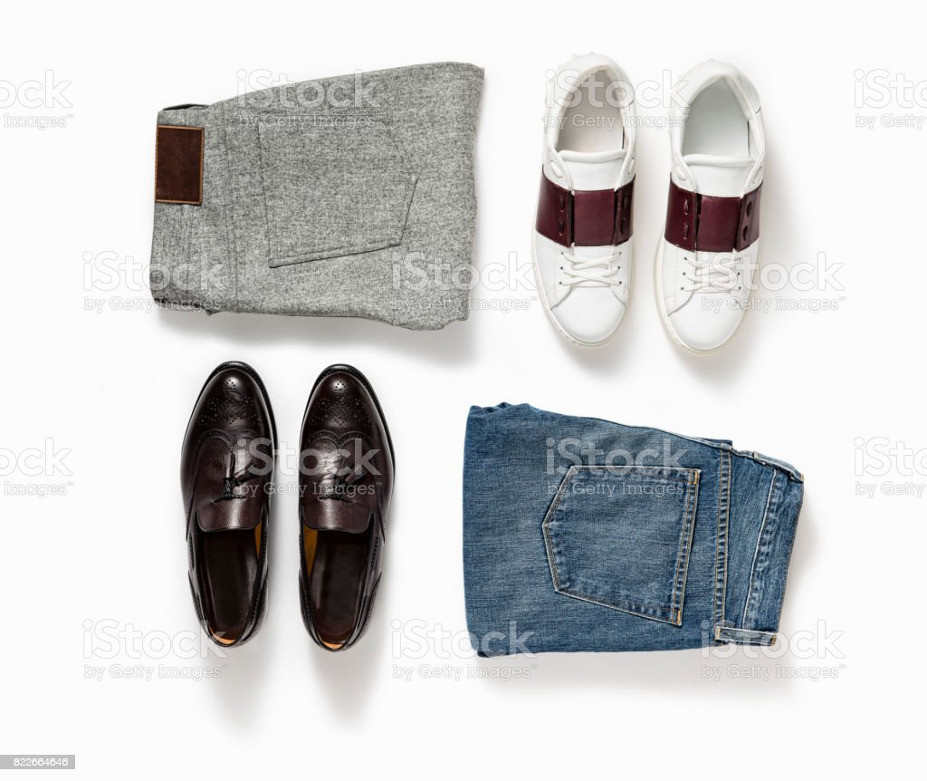 Men's pants and shoes stock photo