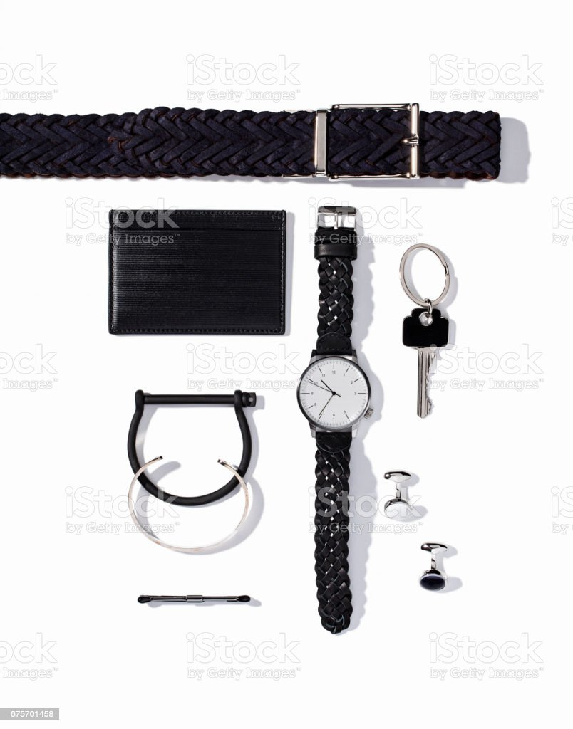 Men's personal accessories isolated on white background royalty-free stock photo