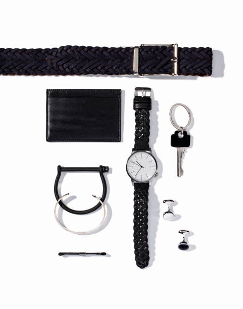 men's personal accessories isolated on white background - oggetti personali foto e immagini stock