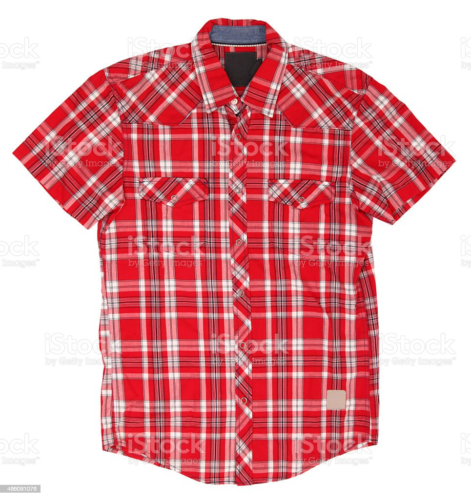 Men's plaid red and white short sleeve shirt stock photo