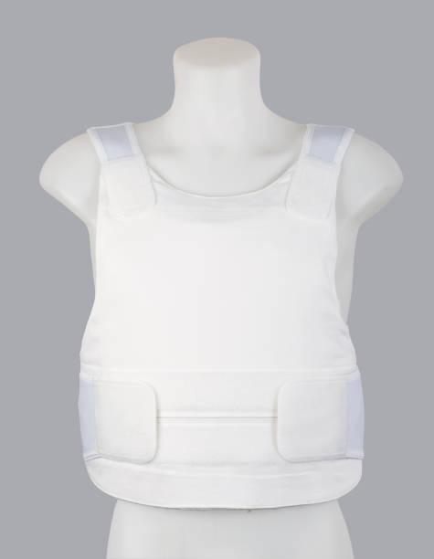 herren schützende bulletproof weiße weste, deckt körper rüstung. - kevlar weste stock-fotos und bilder