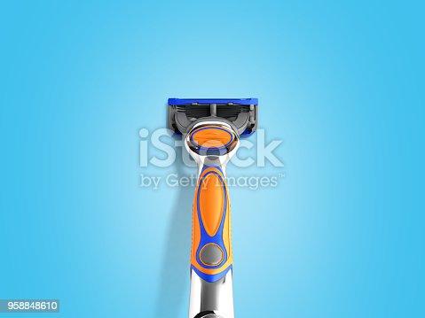 istock Mens razor 3d render on blue background 958848610