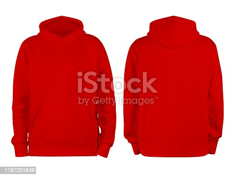 men's red blank hoodie template,from two sides, natural shape on invisible mannequin, for your design mockup for print, isolated on white background