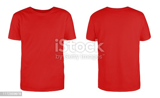 Men's red blank T-shirt template,from two sides, natural shape on invisible mannequin, for your design mockup for print, isolated on white background.