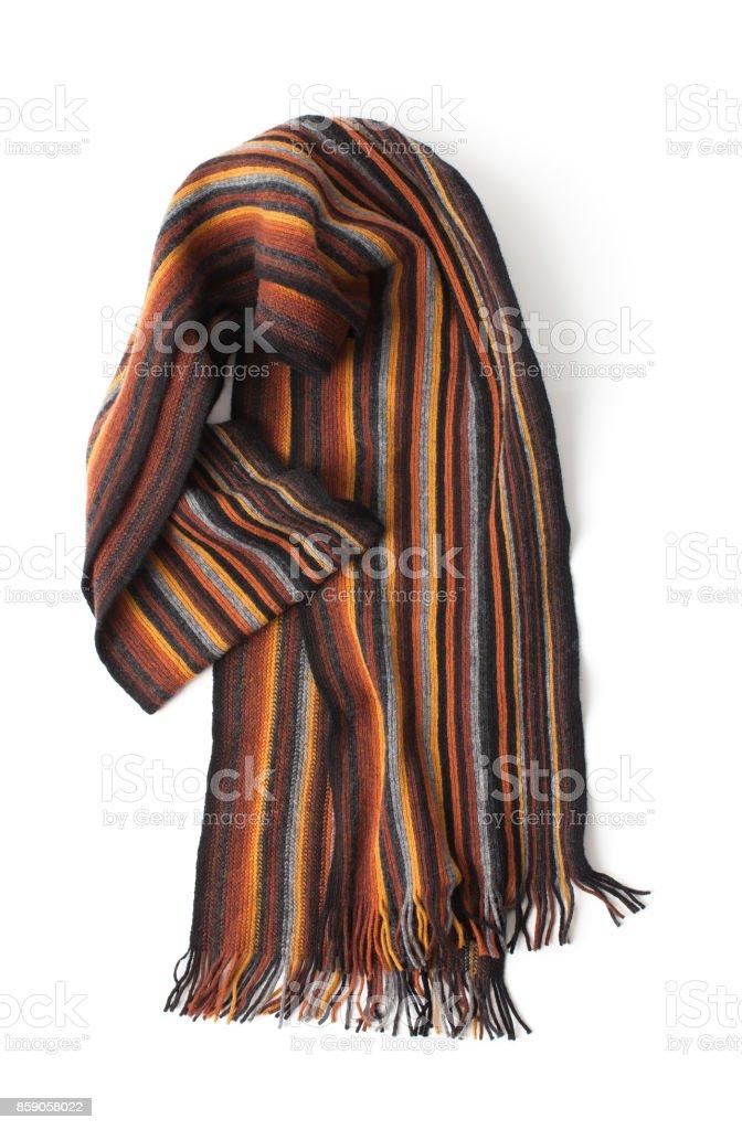 Men's scarf striped on a white background stock photo