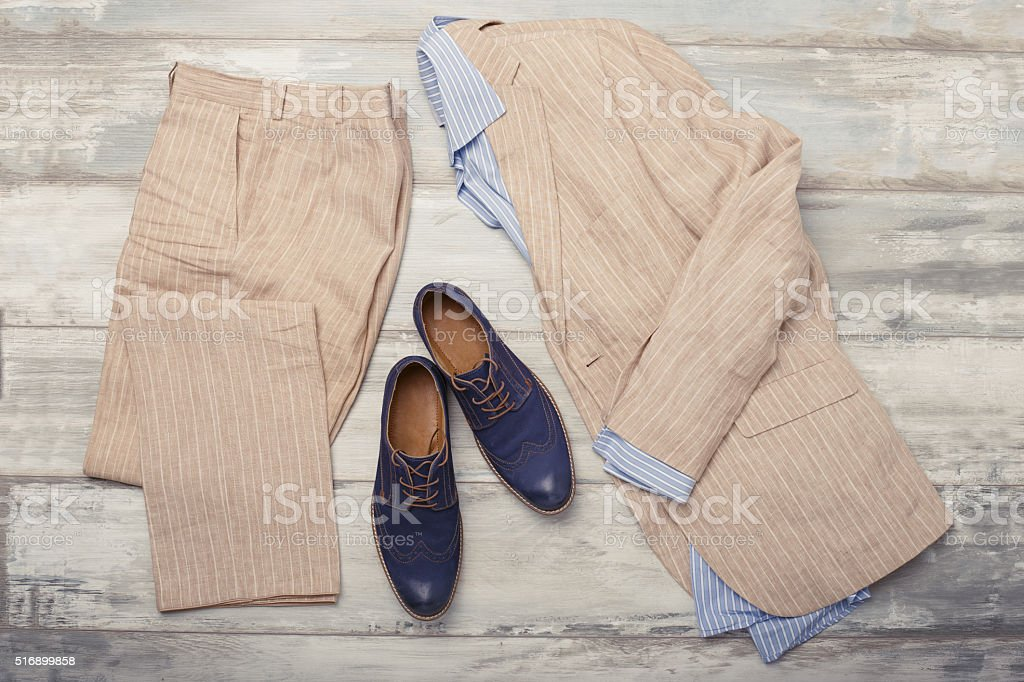 Men's shirt, suit and shoes stock photo