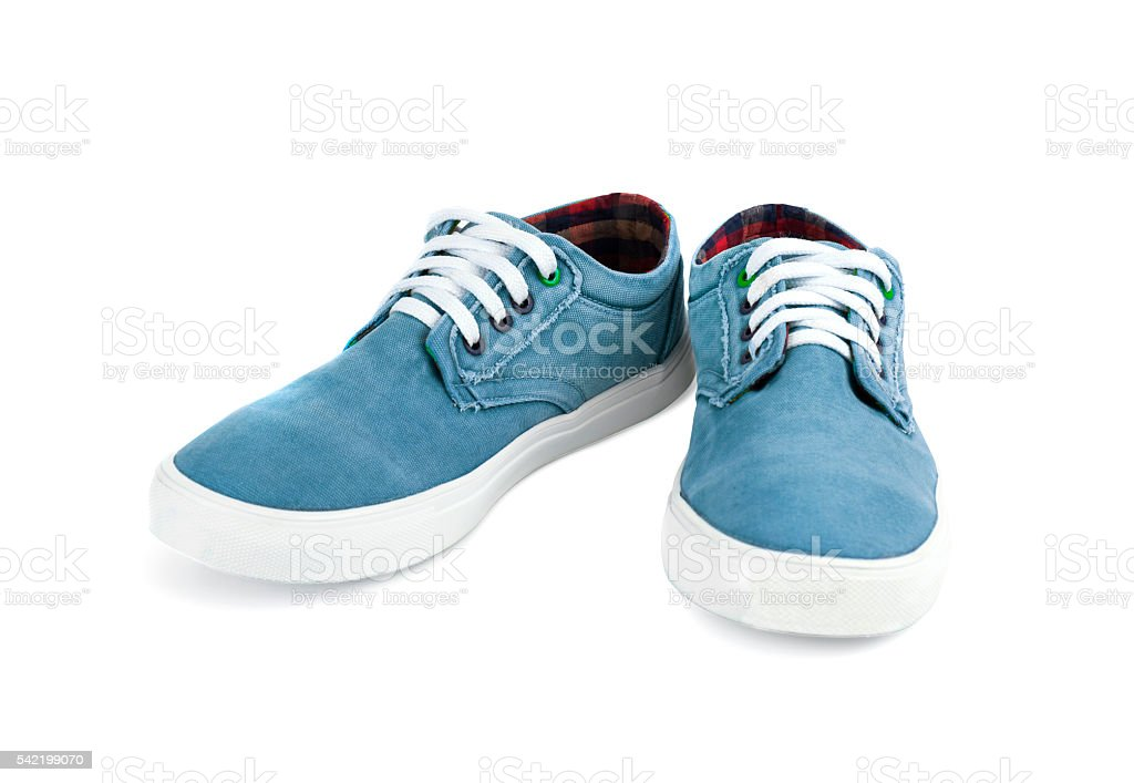 Men's shoes of cloth of blue color stock photo