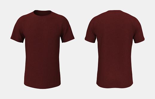 men's short-sleeve t-shirt mockup in front, and back views, design presentation for print, 3d illustration, 3d rendering