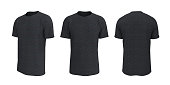 istock men's short-sleeve t-shirt mockup in front, side and back views 1327341457