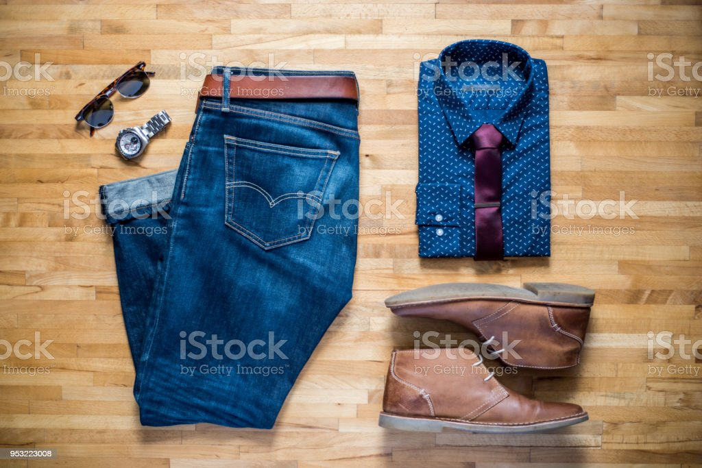 Mens smart casual clothing stock photo